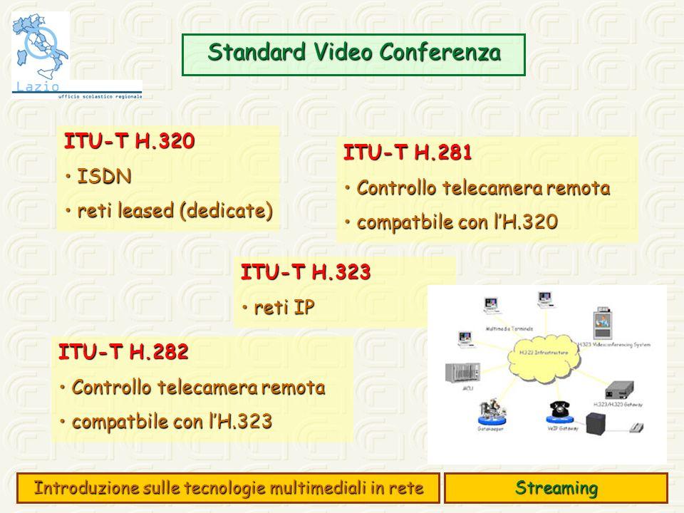 Standard Video Conferenza Streaming Introduzione sulle tecnologie multimediali in rete ITU-T H.320 ISDN ISDN reti leased (dedicate) reti leased (dedicate) ITU-T H.323 reti IP reti IP ITU-T H.281 Controllo telecamera remota Controllo telecamera remota compatbile con lH.320 compatbile con lH.320 ITU-T H.282 Controllo telecamera remota Controllo telecamera remota compatbile con lH.323 compatbile con lH.323