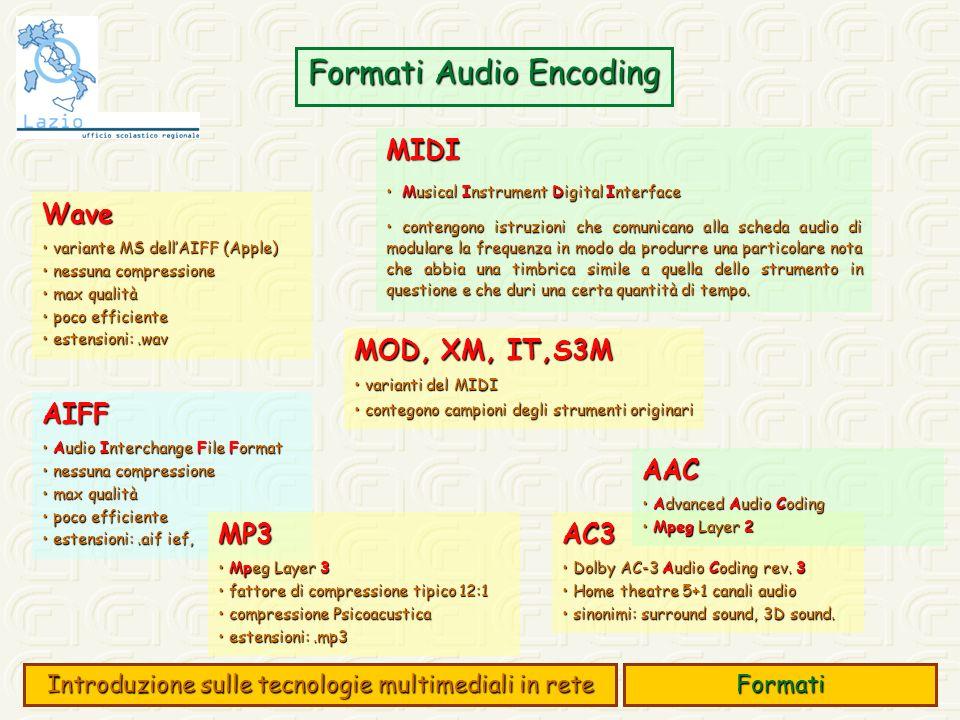Formati Audio Encoding Formati Introduzione sulle tecnologie multimediali in rete MIDI Musical Instrument Digital Interface Musical Instrument Digital Interface contengono istruzioni che comunicano alla scheda audio di modulare la frequenza in modo da produrre una particolare nota che abbia una timbrica simile a quella dello strumento in questione e che duri una certa quantità di tempo.