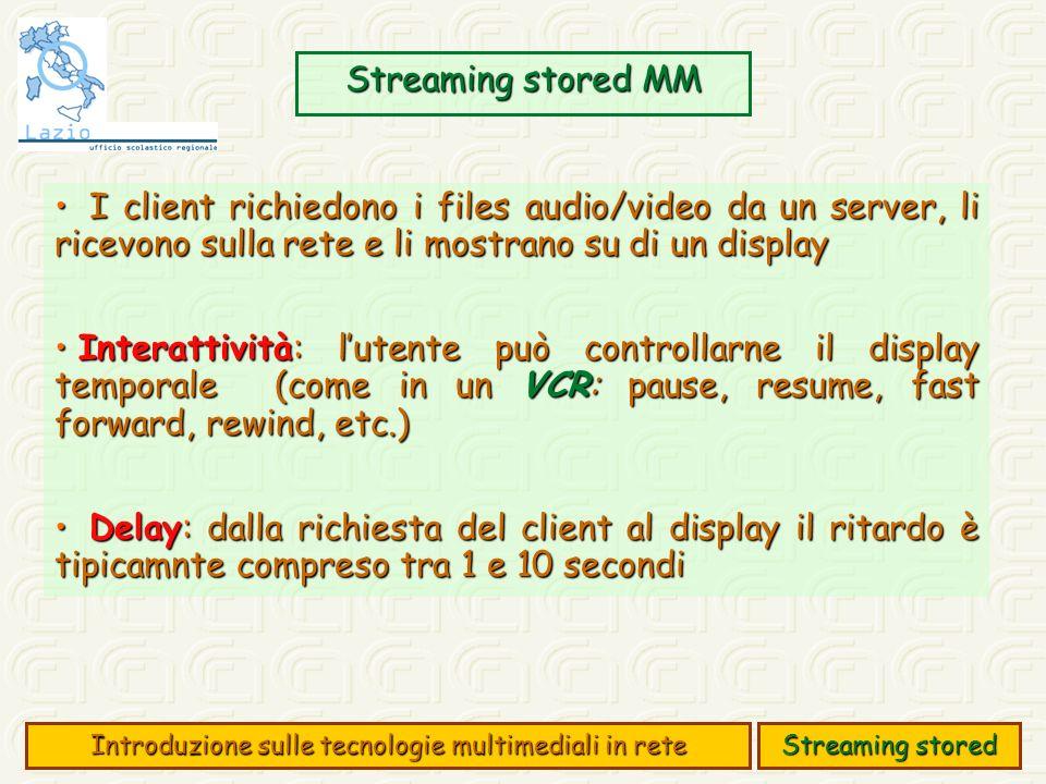 Streaming stored MM Introduzione sulle tecnologie multimediali in rete Streaming stored I client richiedono i files audio/video da un server, li ricevono sulla rete e li mostrano su di un display I client richiedono i files audio/video da un server, li ricevono sulla rete e li mostrano su di un display Interattività: lutente può controllarne il display temporale (come in un VCR: pause, resume, fast forward, rewind, etc.) Interattività: lutente può controllarne il display temporale (come in un VCR: pause, resume, fast forward, rewind, etc.) Delay: dalla richiesta del client al display il ritardo è tipicamnte compreso tra 1 e 10 secondi Delay: dalla richiesta del client al display il ritardo è tipicamnte compreso tra 1 e 10 secondi
