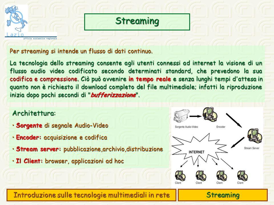 Accesso ai contenuti MM Accesso a contenuti multimediali via FTP/HTTP: i dati audio/video vengono mostrati alla fine del processo di download i dati audio/video vengono mostrati alla fine del processo di download Esempio: File.mp4, 352x288 pixel, 30fps, 800 kb/s, 2 ore (700 MByte in tutto) Con link ADSL a 800 kb/s ==> tempo di scaricamento 2 ore.....