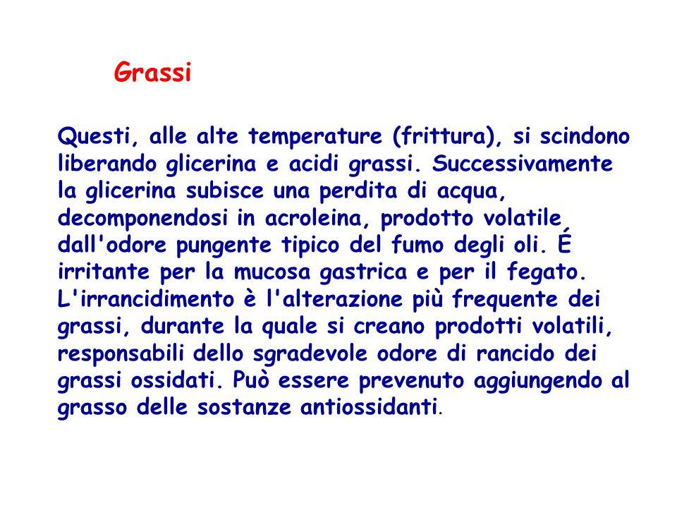 Grassi Questi, alle alte temperature (frittura), si scindono liberando glicerina e acidi grassi. Successivamente la glicerina subisce una perdita di a
