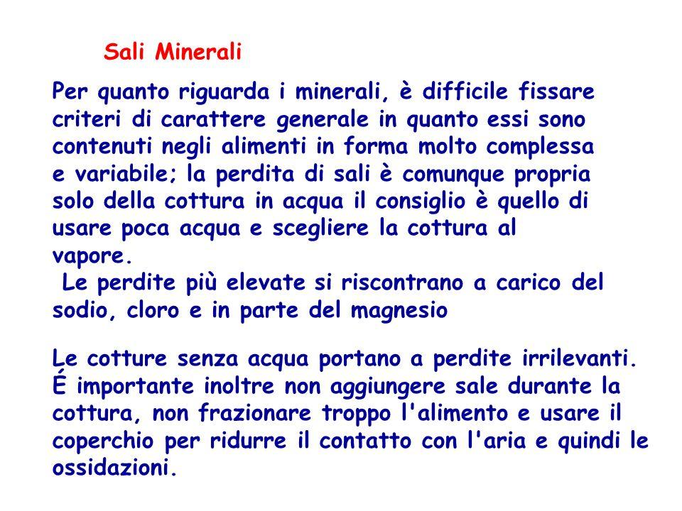 Sali Minerali Le cotture senza acqua portano a perdite irrilevanti. É importante inoltre non aggiungere sale durante la cottura, non frazionare troppo