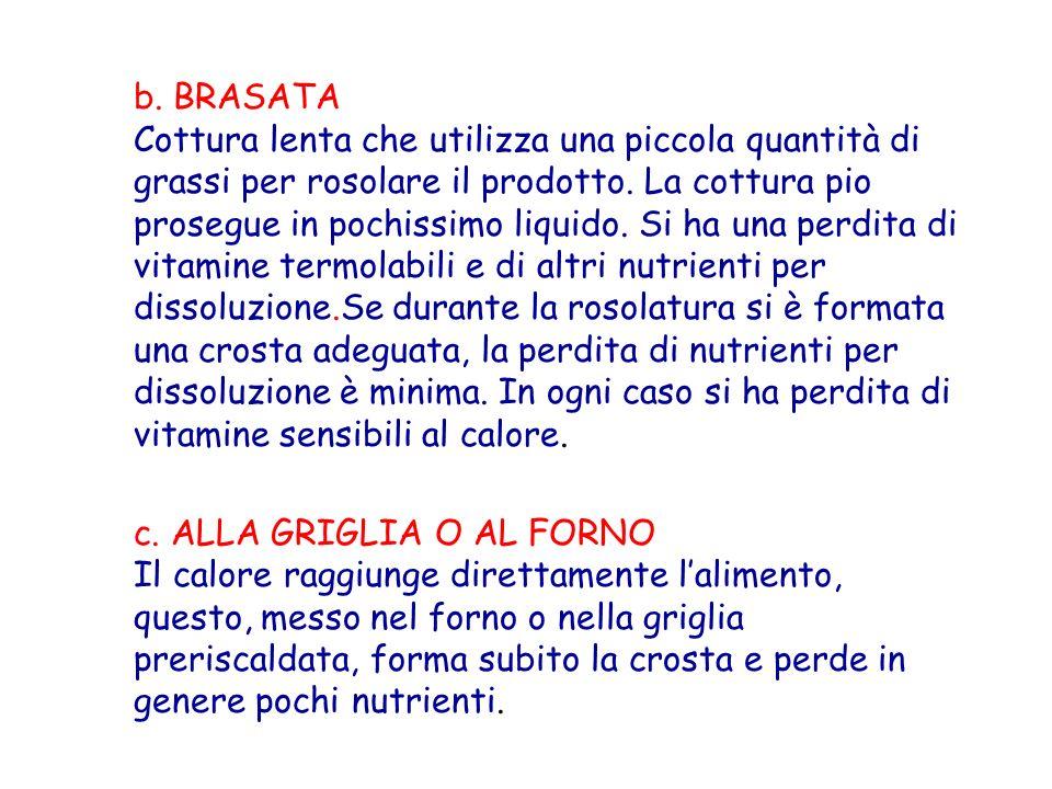b. BRASATA Cottura lenta che utilizza una piccola quantità di grassi per rosolare il prodotto. La cottura pio prosegue in pochissimo liquido. Si ha un