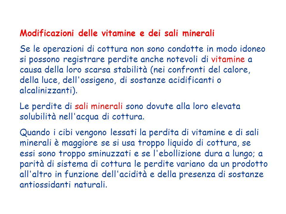 Modificazioni delle vitamine e dei sali minerali Se le operazioni di cottura non sono condotte in modo idoneo si possono registrare perdite anche note