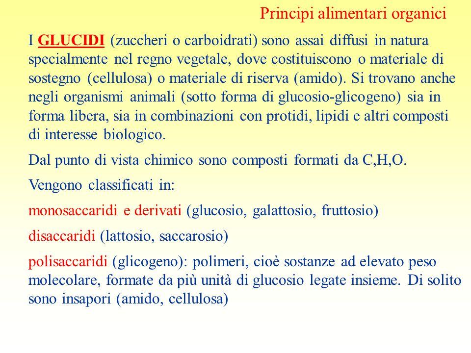 Principi alimentari organici I GLUCIDI (zuccheri o carboidrati) sono assai diffusi in natura specialmente nel regno vegetale, dove costituiscono o mat