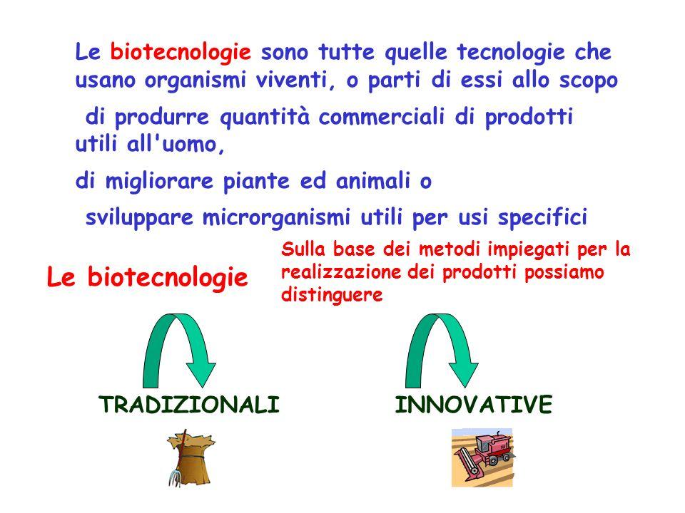 Le biotecnologie sono tutte quelle tecnologie che usano organismi viventi, o parti di essi allo scopo di produrre quantità commerciali di prodotti utili all uomo, di migliorare piante ed animali o sviluppare microrganismi utili per usi specifici Le biotecnologie TRADIZIONALIINNOVATIVE Sulla base dei metodi impiegati per la realizzazione dei prodotti possiamo distinguere