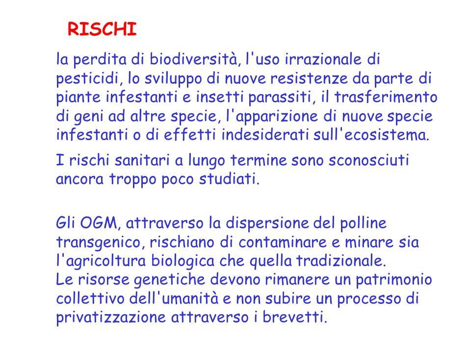la perdita di biodiversità, l uso irrazionale di pesticidi, lo sviluppo di nuove resistenze da parte di piante infestanti e insetti parassiti, il trasferimento di geni ad altre specie, l apparizione di nuove specie infestanti o di effetti indesiderati sull ecosistema.