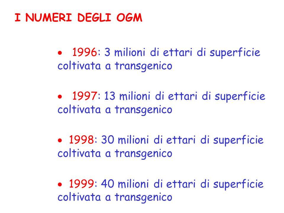 I NUMERI DEGLI OGM 1996: 3 milioni di ettari di superficie coltivata a transgenico 1997: 13 milioni di ettari di superficie coltivata a transgenico 1998: 30 milioni di ettari di superficie coltivata a transgenico 1999: 40 milioni di ettari di superficie coltivata a transgenico