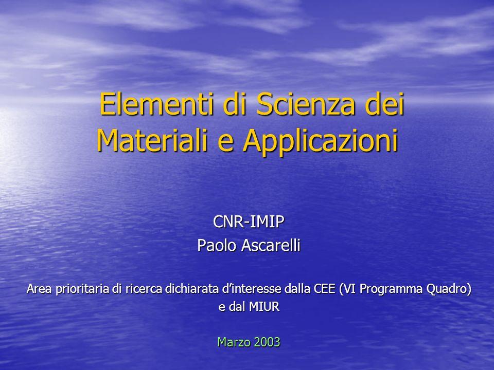Elementi di Scienza dei Materiali e Applicazioni Elementi di Scienza dei Materiali e Applicazioni CNR-IMIP Paolo Ascarelli Area prioritaria di ricerca
