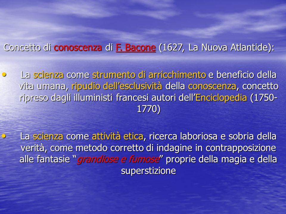 Concetto di conoscenza di F. Bacone (1627, La Nuova Atlantide): La scienza come strumento di arricchimento e beneficio della vita umana, ripudio delle
