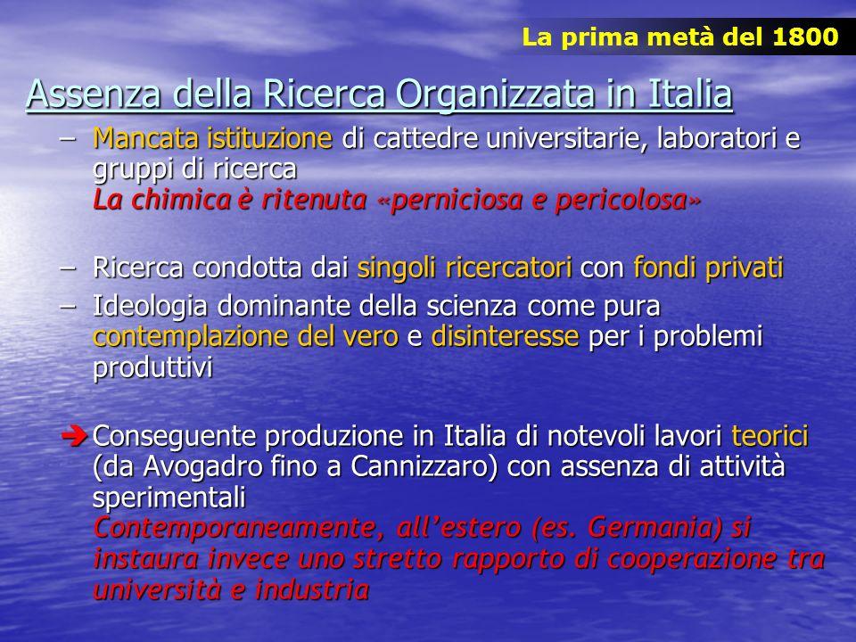 Assenza della Ricerca Organizzata in Italia –Mancata istituzione di cattedre universitarie, laboratori e gruppi di ricerca La chimica è ritenuta «pern