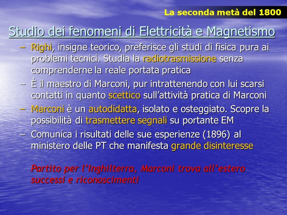 Studio dei fenomeni di Elettricità e Magnetismo –Righi, insigne teorico, preferisce gli studi di fisica pura ai problemi tecnici. Studia la radiotrasm