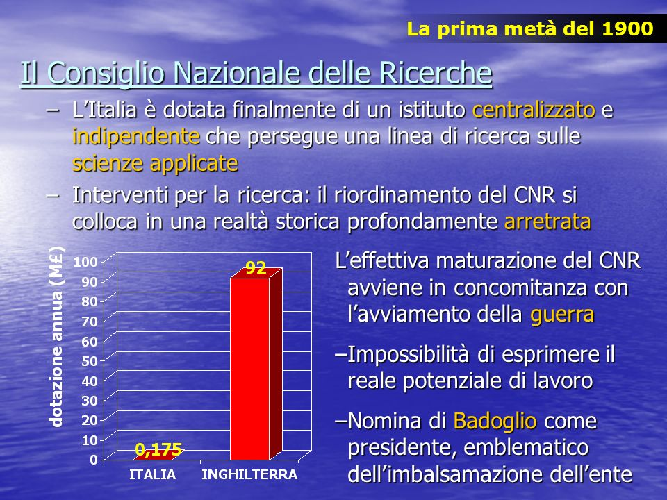 Il Consiglio Nazionale delle Ricerche –LItalia è dotata finalmente di un istituto centralizzato e indipendente che persegue una linea di ricerca sulle