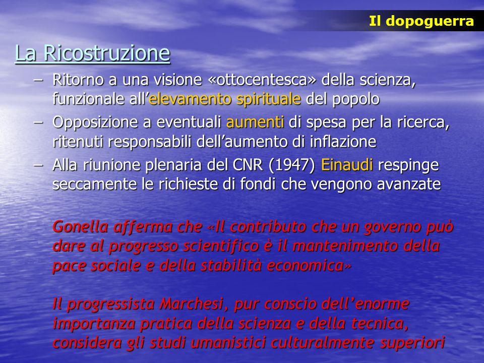 La Ricostruzione –Ritorno a una visione «ottocentesca» della scienza, funzionale allelevamento spirituale del popolo –Opposizione a eventuali aumenti