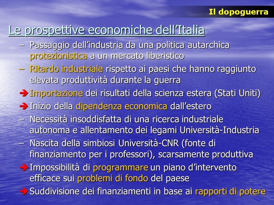 Le prospettive economiche dellItalia –Passaggio dellindustria da una politica autarchica protezionistica a un mercato liberistico –Ritardo industriale