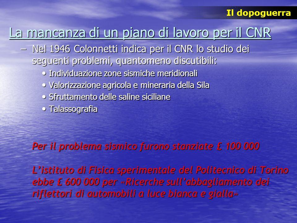 La mancanza di un piano di lavoro per il CNR –Nel 1946 Colonnetti indica per il CNR lo studio dei seguenti problemi, quantomeno discutibili: Individua