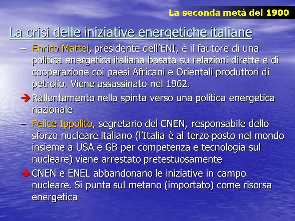 La crisi delle iniziative energetiche italiane –Enrico Mattei, presidente dellENI, è il fautore di una politica energetica italiana basata su relazion