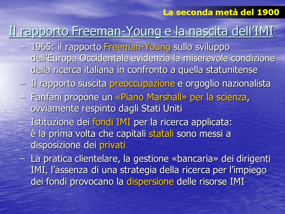 Il rapporto Freeman-Young e la nascita dellIMI –1965: il rapporto Freeman-Young sullo sviluppo dellEuropa Occidentale evidenzia la miserevole condizio