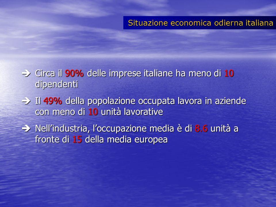 Circa il 90% delle imprese italiane ha meno di 10 dipendenti Circa il 90% delle imprese italiane ha meno di 10 dipendenti Il 49% della popolazione occ