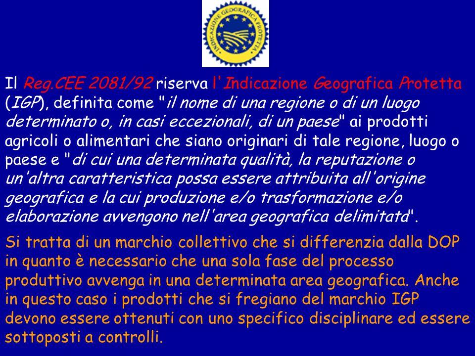 Il Reg.CEE 2081/92 riserva l'Indicazione Geografica Protetta (IGP), definita come
