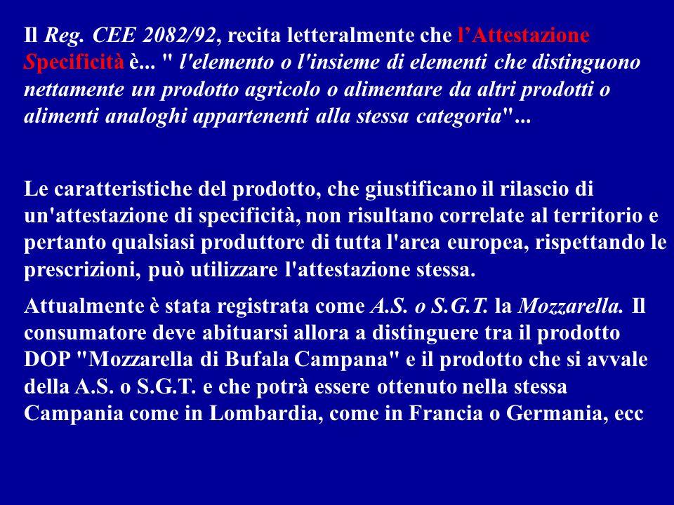 Il Reg. CEE 2082/92, recita letteralmente che lAttestazione Specificità è...