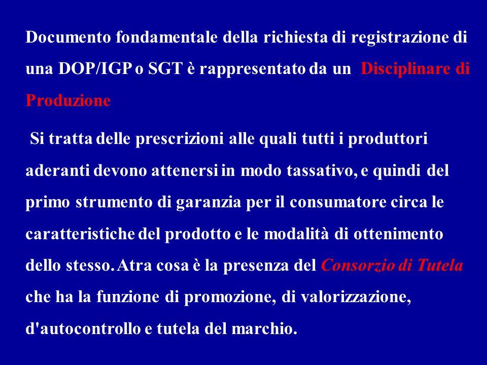 Documento fondamentale della richiesta di registrazione di una DOP/IGP o SGT è rappresentato da un Disciplinare di Produzione. Si tratta delle prescri