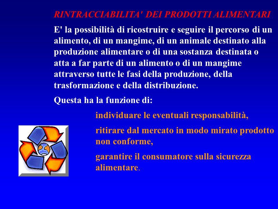 RINTRACCIABILITA' DEI PRODOTTI ALIMENTARI E' la possibilità di ricostruire e seguire il percorso di un alimento, di un mangime, di un animale destinat