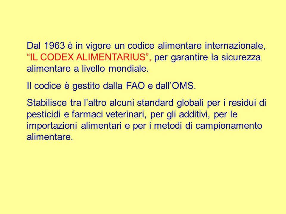Dal 1963 è in vigore un codice alimentare internazionale, IL CODEX ALIMENTARIUS, per garantire la sicurezza alimentare a livello mondiale. Il codice è