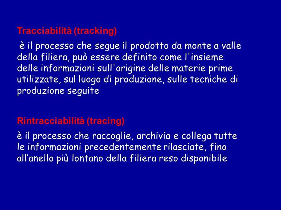 Tracciabilità (tracking) è il processo che segue il prodotto da monte a valle della filiera, può essere definito come l'insieme delle informazioni sul