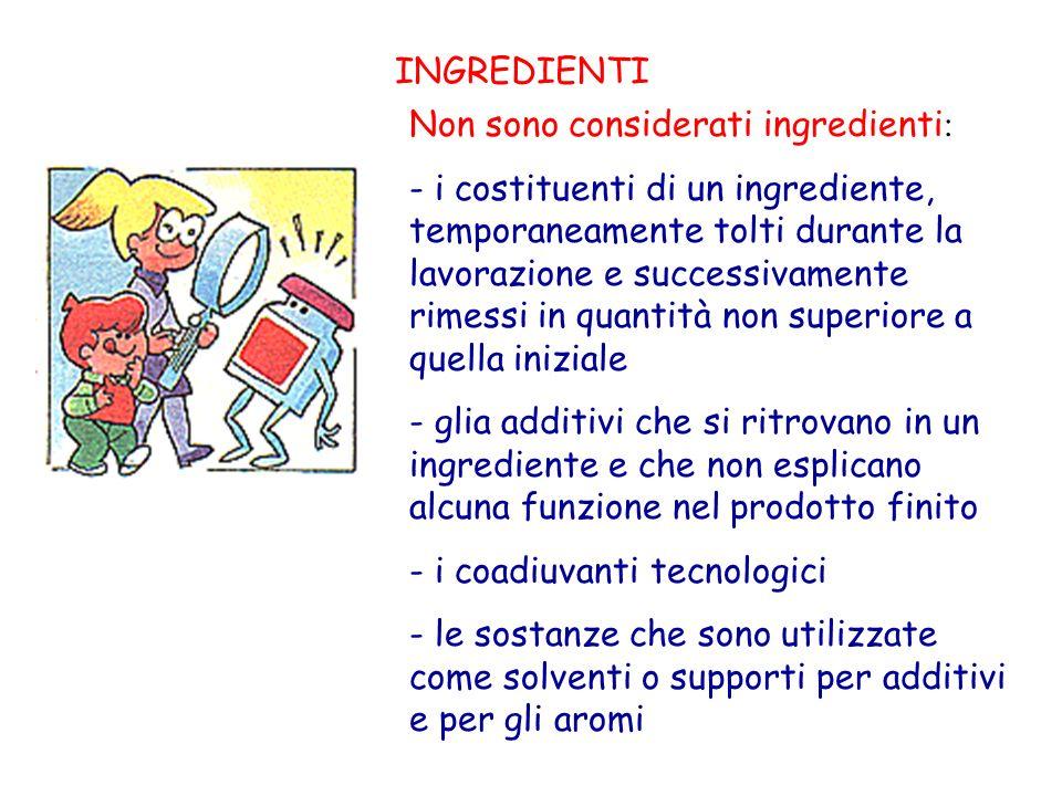 INGREDIENTI Non sono considerati ingredienti : - i costituenti di un ingrediente, temporaneamente tolti durante la lavorazione e successivamente rimes