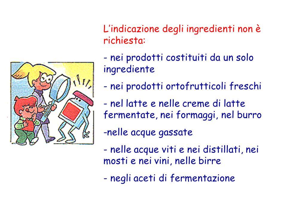 Lindicazione degli ingredienti non è richiesta: - nei prodotti costituiti da un solo ingrediente - nei prodotti ortofrutticoli freschi - nel latte e n