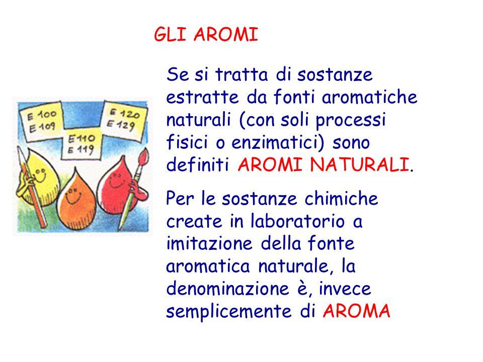 GLI AROMI Se si tratta di sostanze estratte da fonti aromatiche naturali (con soli processi fisici o enzimatici) sono definiti AROMI NATURALI. Per le