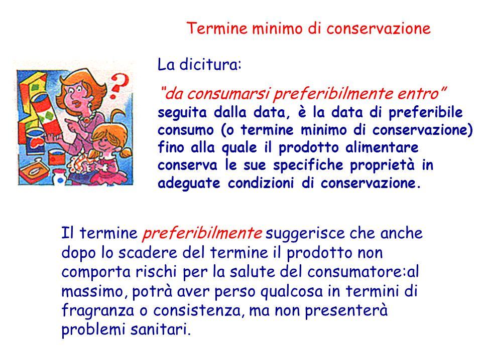 Termine minimo di conservazione La dicitura: da consumarsi preferibilmente entro seguita dalla data, è la data di preferibile consumo (o termine minim