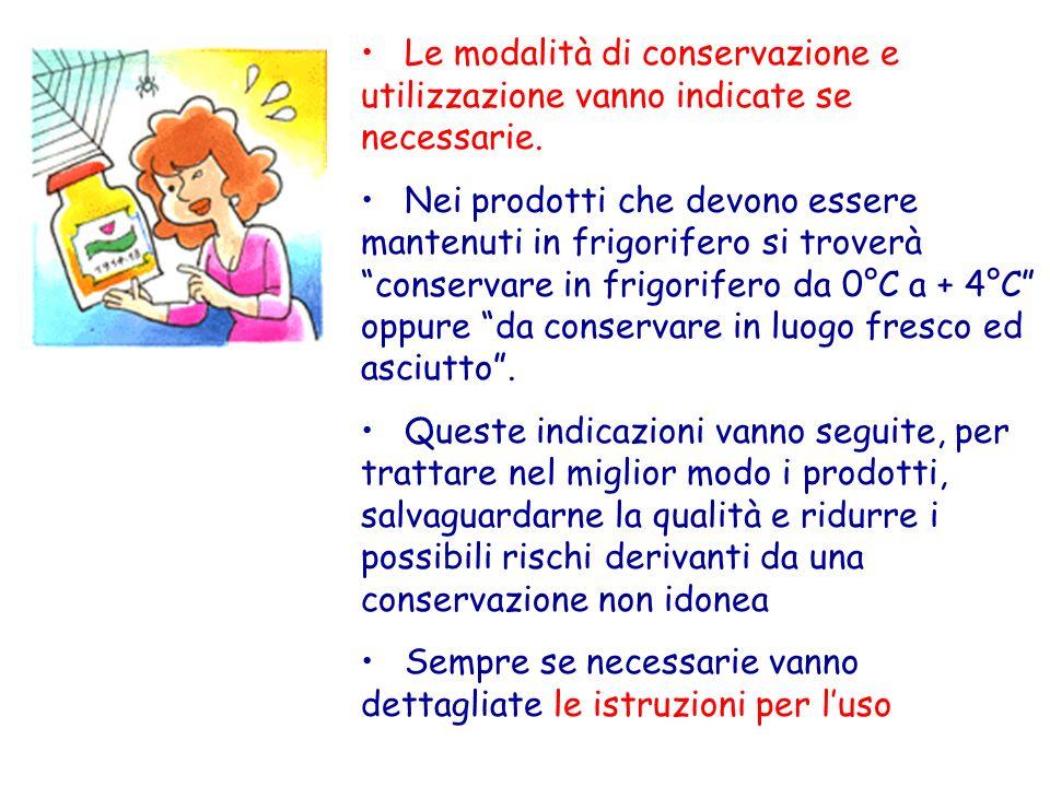 Le modalità di conservazione e utilizzazione vanno indicate se necessarie. Nei prodotti che devono essere mantenuti in frigorifero si troverà conserva