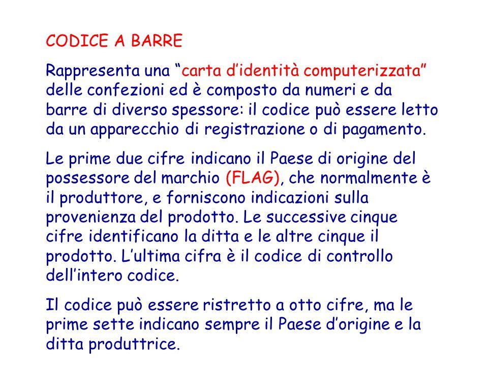 CODICE A BARRE Rappresenta una carta didentità computerizzata delle confezioni ed è composto da numeri e da barre di diverso spessore: il codice può e