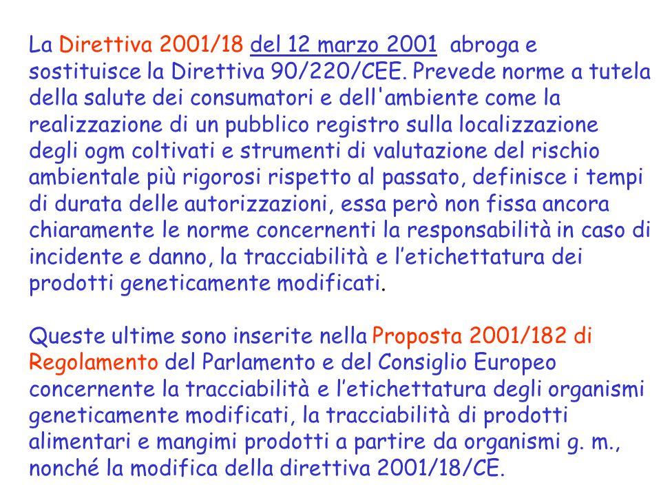 La Direttiva 2001/18 del 12 marzo 2001 abroga e sostituisce la Direttiva 90/220/CEE. Prevede norme a tutela della salute dei consumatori e dell'ambien
