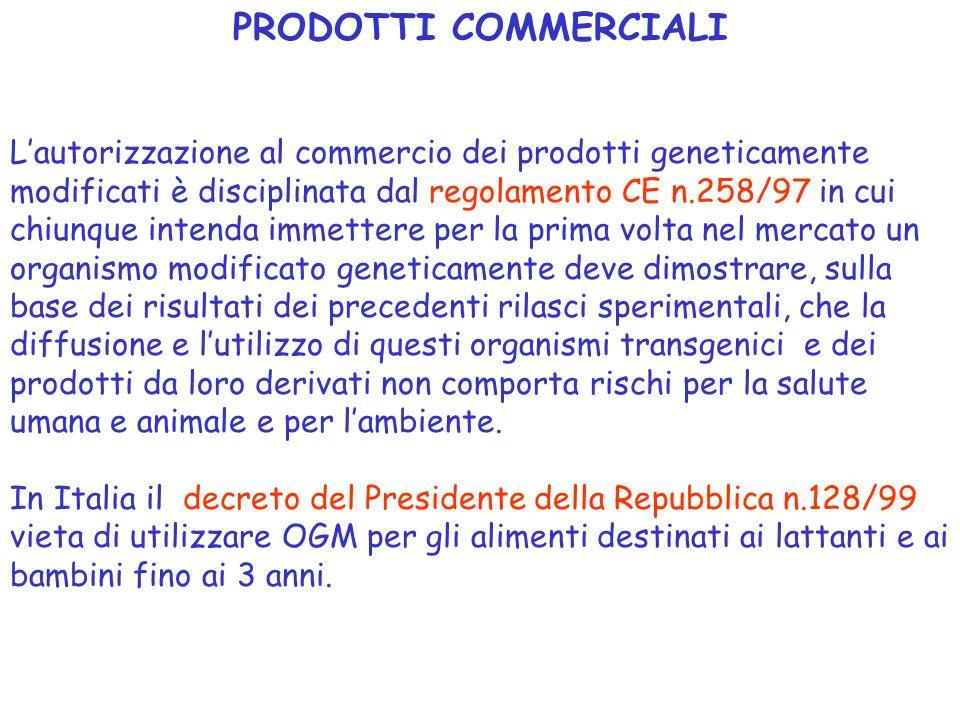 PRODOTTI COMMERCIALI Lautorizzazione al commercio dei prodotti geneticamente modificati è disciplinata dal regolamento CE n.258/97 in cui chiunque int