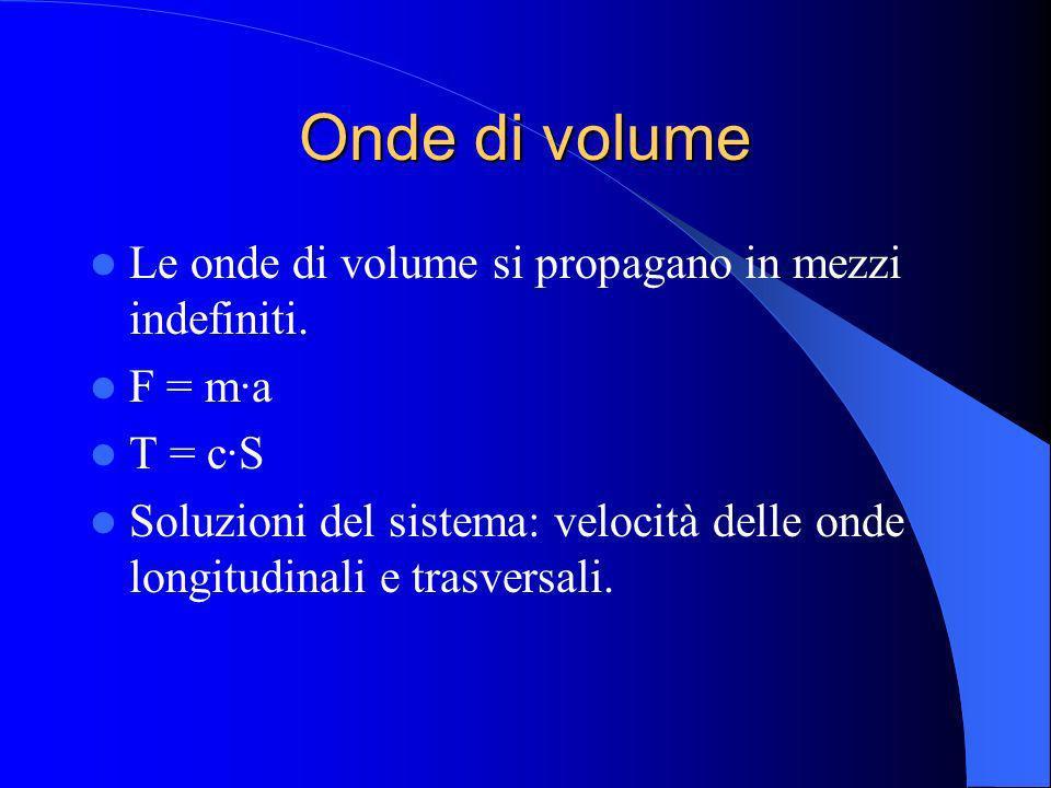 Onde di volume Le onde di volume si propagano in mezzi indefiniti. F = m·a T = c·S Soluzioni del sistema: velocità delle onde longitudinali e trasvers