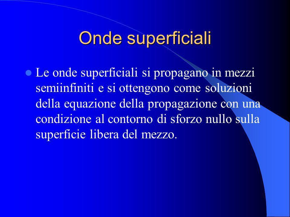 Onde superficiali Le onde superficiali si propagano in mezzi semiinfiniti e si ottengono come soluzioni della equazione della propagazione con una con
