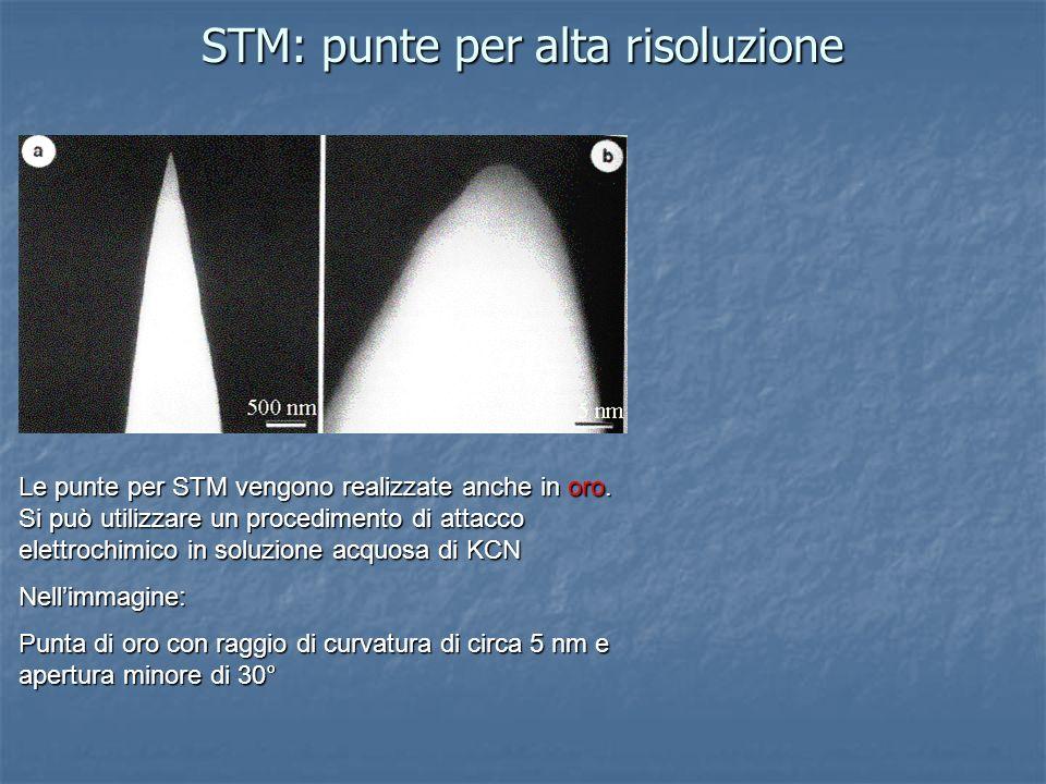 STM: punte per alta risoluzione Le punte per STM vengono realizzate anche in oro. Si può utilizzare un procedimento di attacco elettrochimico in soluz