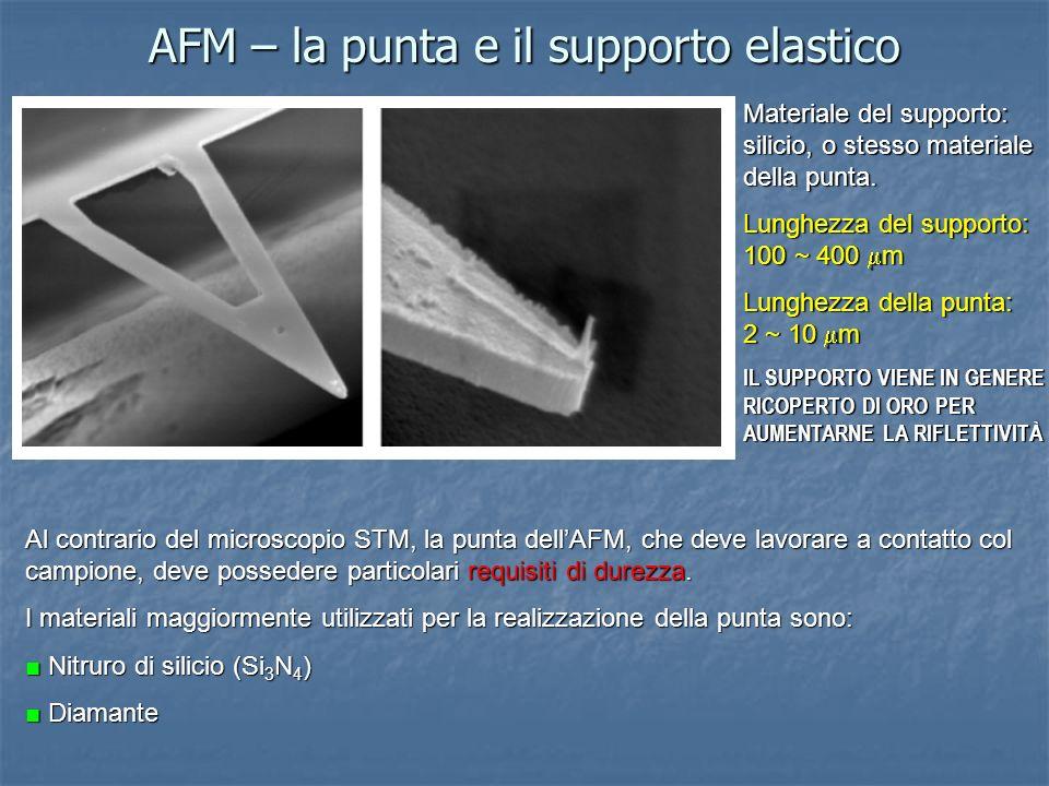 AFM – la punta e il supporto elastico Al contrario del microscopio STM, la punta dellAFM, che deve lavorare a contatto col campione, deve possedere pa