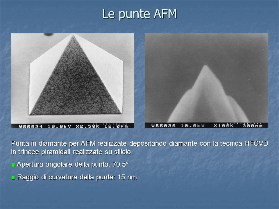 Le punte AFM Punta in diamante per AFM realizzate depositando diamante con la tecnica HFCVD in trincee piramidali realizzate su silicio. Apertura ango