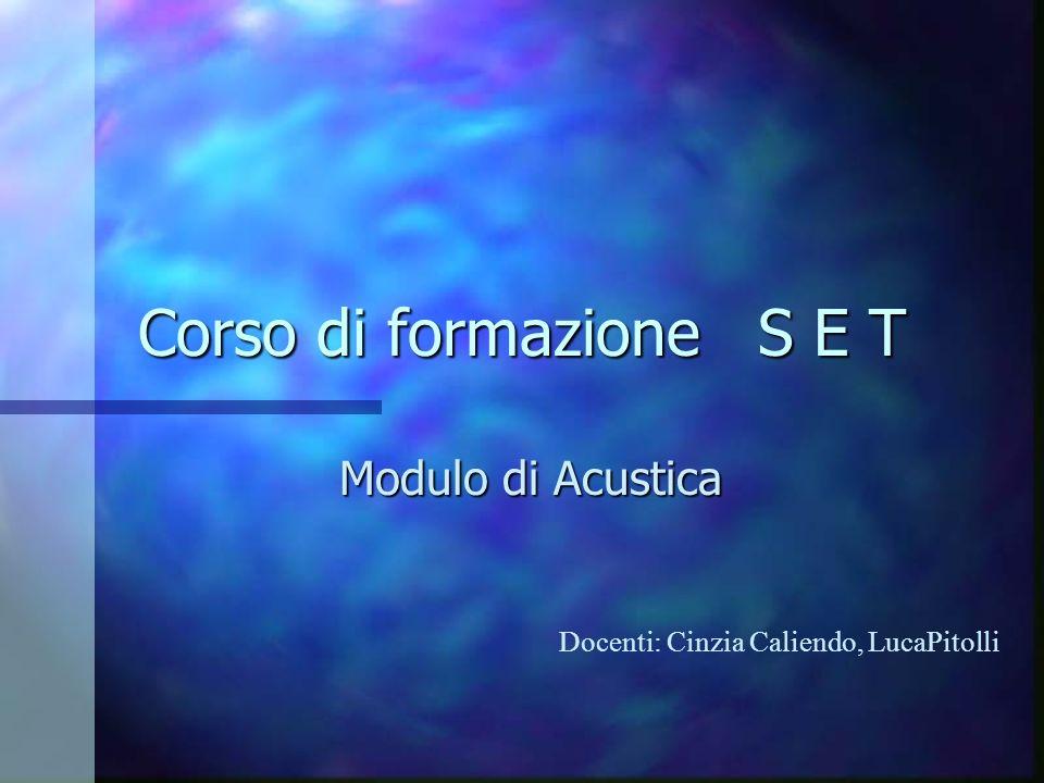 Corso di formazione S E T Modulo di Acustica Docenti: Cinzia Caliendo, LucaPitolli