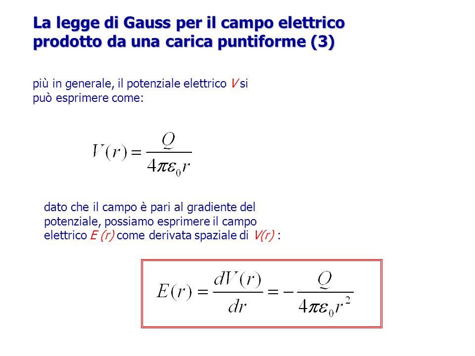 r La legge di Gauss per il campo elettrico prodotto da una carica puntiforme (3) più in generale, il potenziale elettrico V si può esprimere come: dat