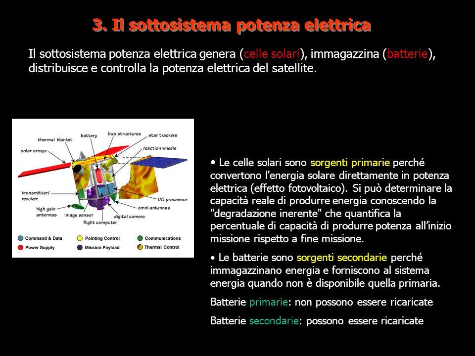 3. Il sottosistema potenza elettrica Il sottosistema potenza elettrica genera (celle solari), immagazzina (batterie), distribuisce e controlla la pote
