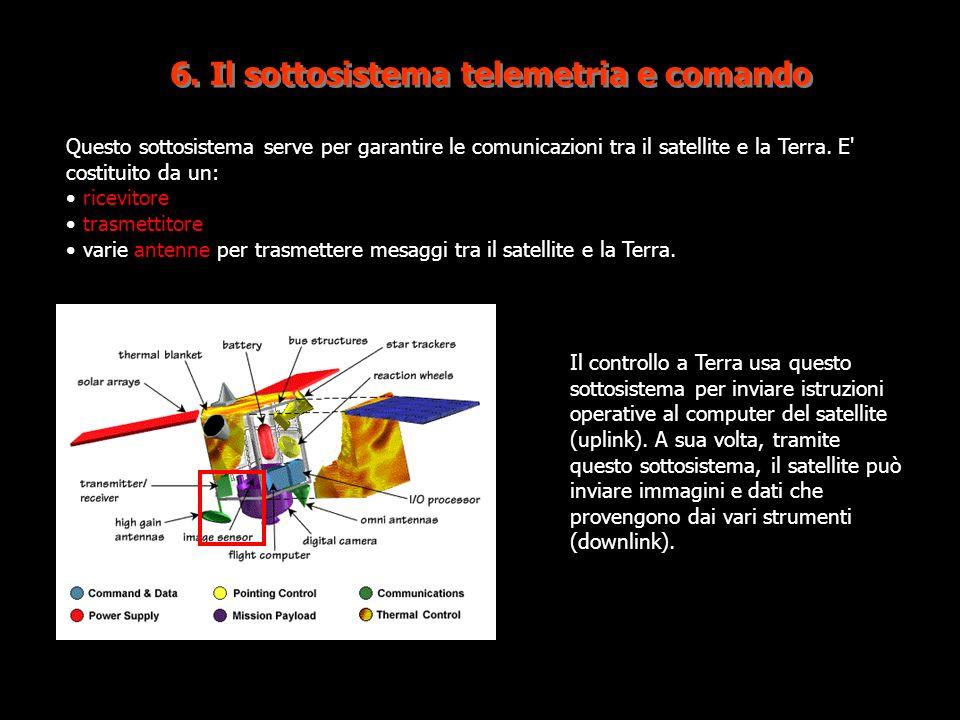 6. Il sottosistema telemetria e comando Questo sottosistema serve per garantire le comunicazioni tra il satellite e la Terra. E' costituito da un: ric