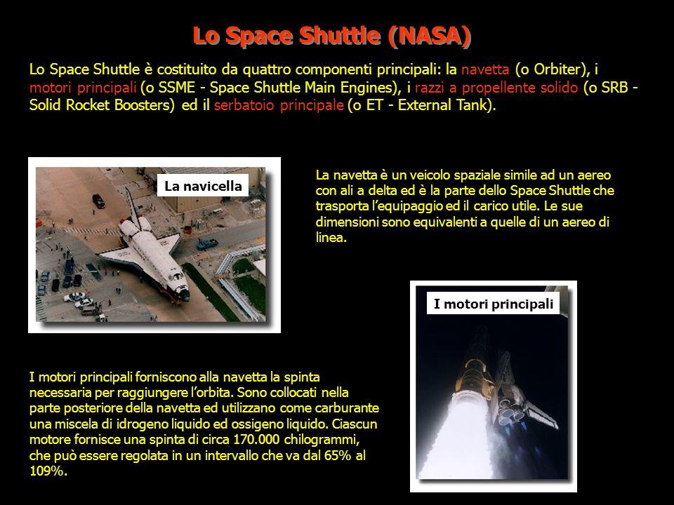 Lo Space Shuttle (NASA) Lo Space Shuttle è costituito da quattro componenti principali: la navetta (o Orbiter), i motori principali (o SSME - Space Sh