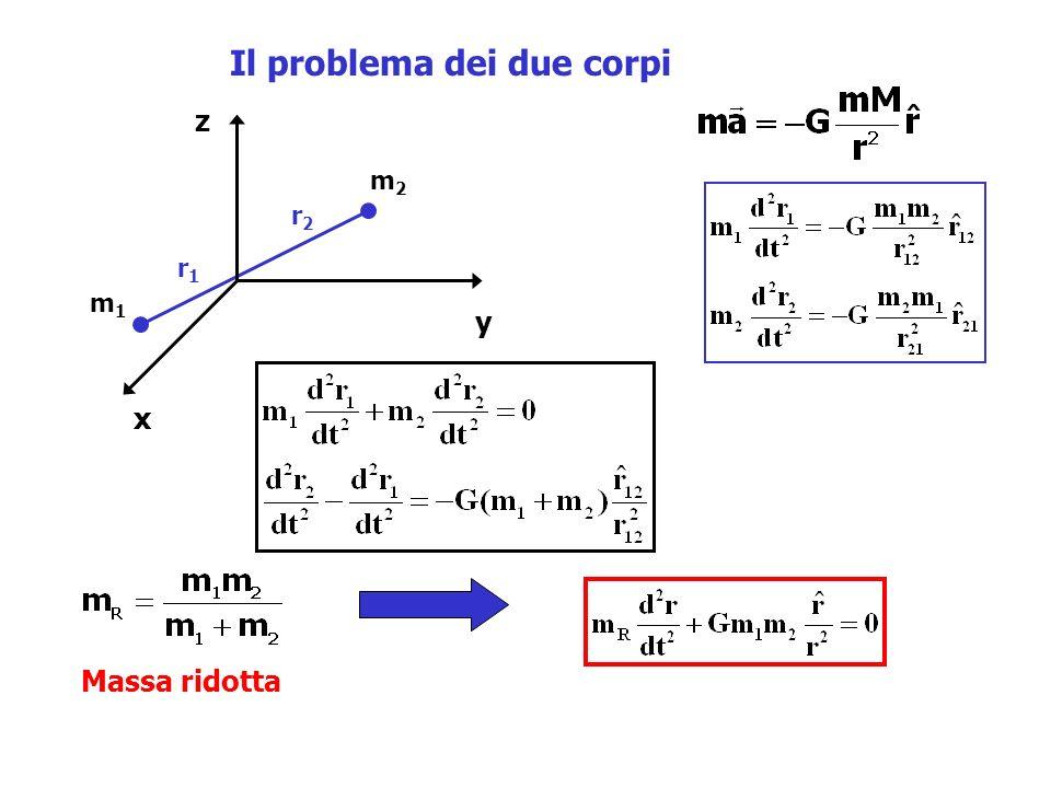 Il problema dei due corpi m1m1 m2m2 x y z r1r1 r2r2 Massa ridotta