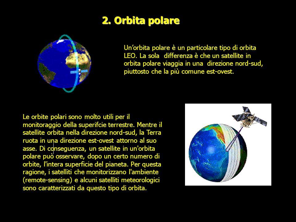 2. Orbita polare Unorbita polare è un particolare tipo di orbita LEO. La sola differenza è che un satellite in orbita polare viaggia in una direzione
