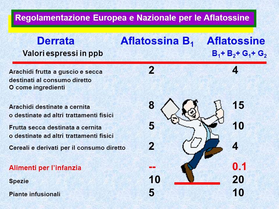 Regolamentazione Europea e Nazionale per le Aflatossine DerrataAflatossina B 1 Aflatossine Valori espressi in ppb B 1 + B 2 + G 1 + G 2 Arachidi frutt